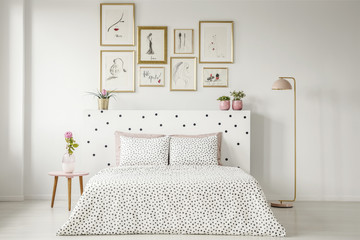 Patterned woman's bedroom interior
