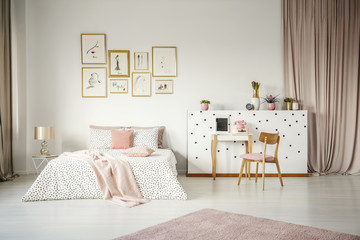 Pink pastel bedroom interior