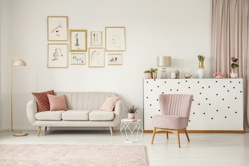 Pink living room with posters