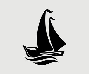 Ship Icon Silhouette Logo, art vector design