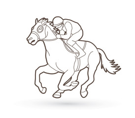 Horse racing ,Jockey riding horse outline graphic vector.