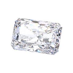 3D illustration isolated emerald diamond stone on a white background