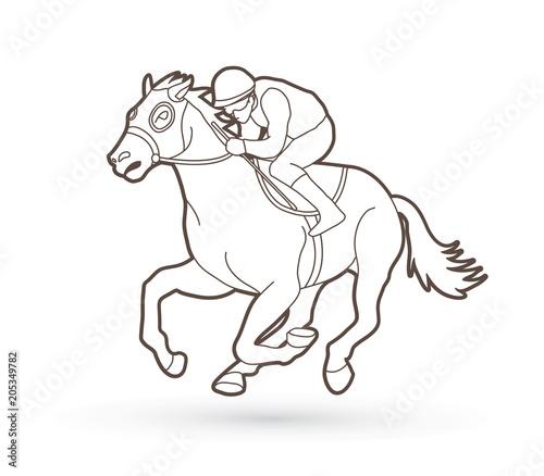 Horse Racing Jockey Riding Horse Outline Graphic Vector Stock