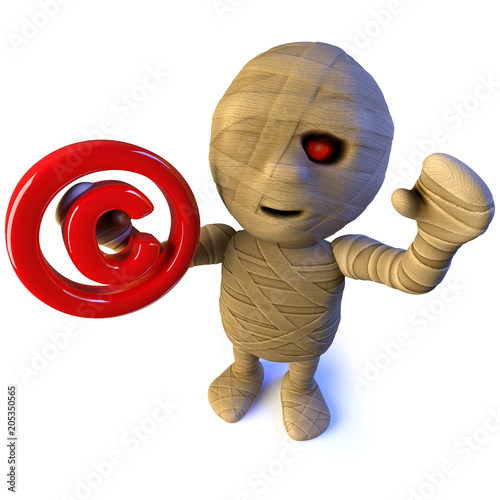 3d Funny Cartoon Egyptian Mummy Monster Character Holding A