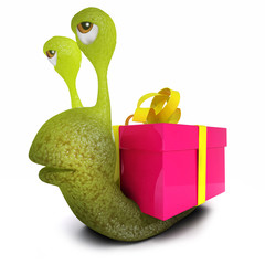 3d Funny cartoon snail character with a gift present instead of a shell