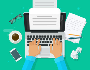 Writer writing on computer paper sheet vector illustration, flat cartoon person editor write electronic book text top view, laptop with writing letter or journal, journalist author working