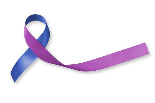 Blue purple ribbon awareness for RA rheumatoid arthritis illness disease (bow isoltaed with clipping path on white background)
