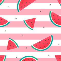 Watermelon Seamless Pattern Vector illustration, watermelon slices on pink and white stripes background.
