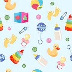 Seamless pattern, background, from a set of beautiful baby icons, vector illustration.