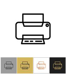 Printer icon, office printing document equipment simple symbol