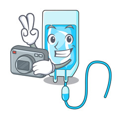 Photographer infussion bottle mascot cartoon