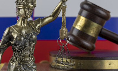 Human Rights Act and Justice Concept , Russia - Russian Federation Flag