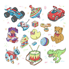 Kids toys vector cartoon games for children in playroom and playing with car or colorful blocks illustration set of teddy bear and dinosaur isolated on white background