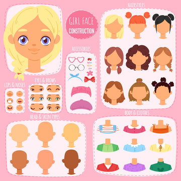 Girl face constructor vector kids character avatar and girlish creation head lips or eyes illustration girlie set of facial elements construction with children hairstyle isolated on background