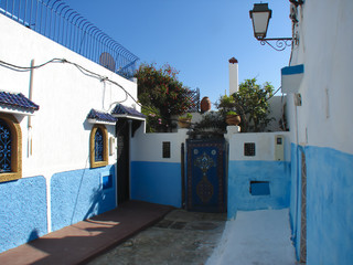 frontage of the house and decorated gates to the courtyard, Moorish style, Morocco