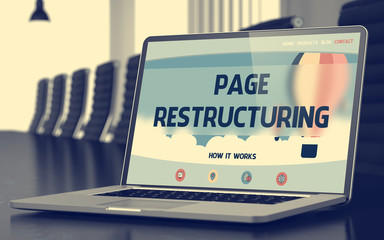 Page Restructuring on Laptop in Conference Hall. 3d