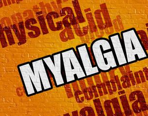 Modern medicine concept: Myalgia on Yellow Wall .
