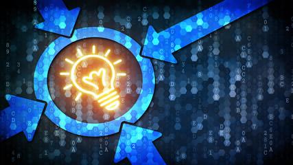 Idea Concept: Bulb Lamp - Web Icon on Pixelated Background.