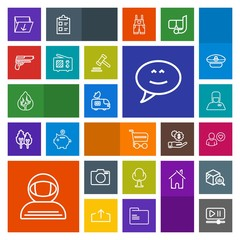Modern, simple, colorful vector icon set with video, antenna, speech, market, service, astronaut, lens, rubbish, profile, tree, tv, online, cart, trash, forest, photo, button, space, box, van icons