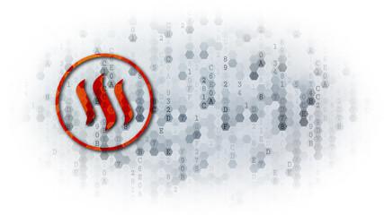 Steem - Logo on Digital Background.