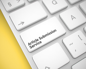 Article Submission Service on the White Keyboard Key. 3d