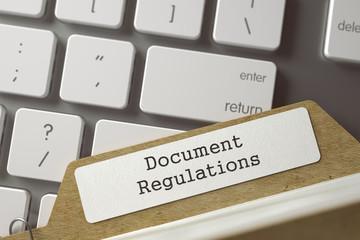 Folder Index with Document Regulations. 3d