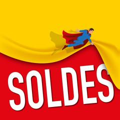 soldes - promos - promotion - promotions - promo - affiche - héros - super héros - communication - pub