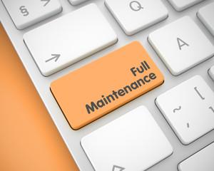 Full Maintenance - Message on the Orange Keyboard Key. 3D.