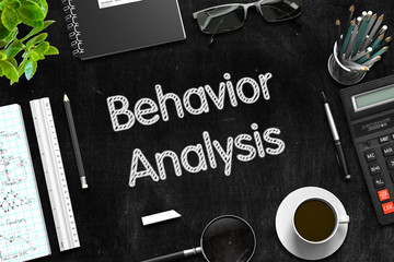Black Chalkboard with Behavior Analysis. 3D Rendering.