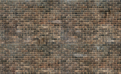Old grunge brown brick wall texture background