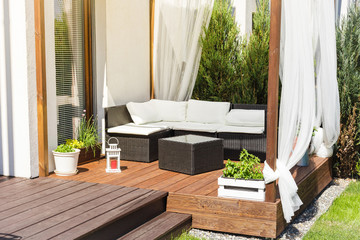 Chillout lounge on wooden terrace