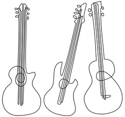 Abstract guitar one line drawing