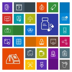 Modern, simple, colorful vector icon set with travel, container, juice, medical, glass, bag, hat, mug, cocktail, phone, open, communication, security, mobile, cold, vitamin, window, roof, unlock icons