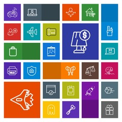 Modern, simple, colorful vector icon set with sound, people, jet, gift, package, online, sign, food, fish, navigation, face, white, vehicle, aircraft, smile, headset, airplane, bag, profile, car icons