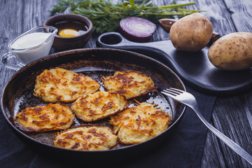 Homemade Traditional potato fritters on a Background