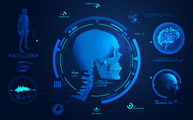 concept of health care technology, graphic of realistic skull with digital analysis interface
