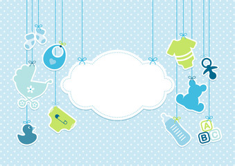 Card Baby Boy Symbols Hanging Cloud Blue
