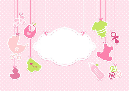 Card Baby Girl Symbols Hanging Cloud Pink