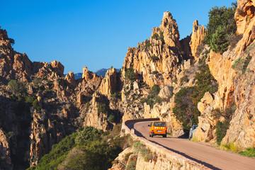 Road along the famous Calanques de Piana in Corsica, France