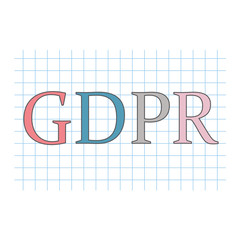 GDPR (General Data Protection Regulation) acronym on checkered paper sheet- vector illustration