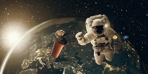 Astronaut needs his coffee break, 3D and photo compositing, elements from NASA