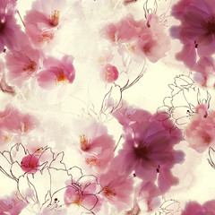 blossom cherry (sakura) flowers mix repeat seamless pattern. watercolour and digital picture. mixed media artwork. endless