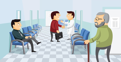 Waiting room in the hospital. Private medical practice. Modern Interior at the doctor. The best medical health care. Simple flat vector illustration.
