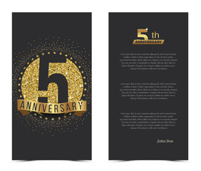 5th anniversary card with gold elements. Vector illustration.