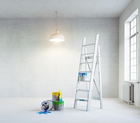 white renovation interior
