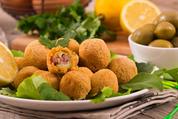 Foto op Aluminium Buffet, Bar Ascoli stuffed olives.