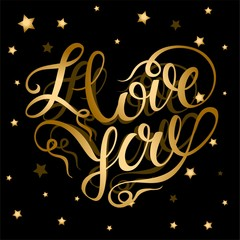 I love you. Valentine. Gold lettering in the shape of a heart. Starry background.Holiday card. Lettering. Vector.