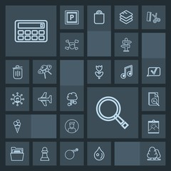 Modern, simple, dark vector icon set with way, photo, airplane, arrow, abstract, environment, male, search, tree, paper, food, flight, button, plane, communication, travel, network, cloud, frame icons