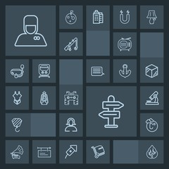 Modern, simple, dark vector icon set with thermometer, music, forest, service, antenna, research, bellhop, tree, microscope, travel, biology, tv, luggage, landscape, hotel, scale, uniform, arrow icons