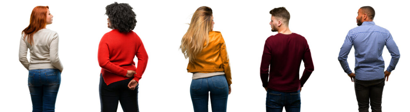 Group of cool people, woman and man backside, rear view